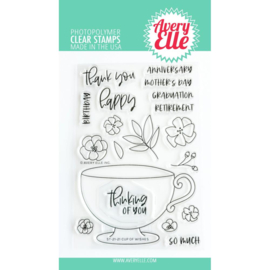 """656901 Avery Elle Clear Stamp Set Cup Of Wishes 4""""X6"""""""