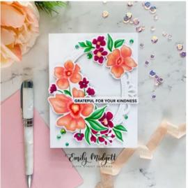 644459 PFCC3220 Pinkfresh Studio Die Floral Notes