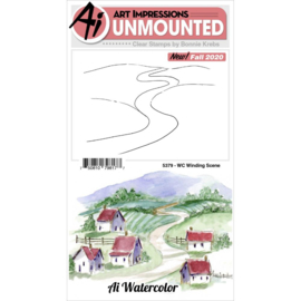 644046 Art Impressions Watercolor Clear Stamps Winding Scene