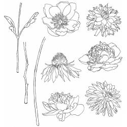 342976 Tim Holtz Cling Rubber Stamp Set Flower Garden