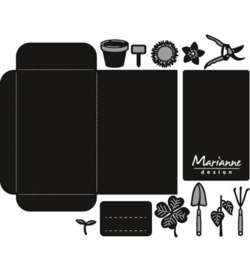 CR1395 Marianne Design Craftables Seed pocket & garden tools