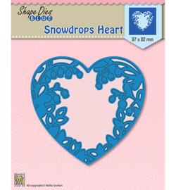 SDB008  Shape Dies Snowdrops heart