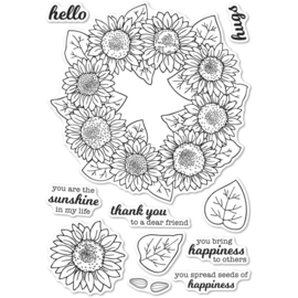 CL5253 Memory Box Clear Stamps Sunflower Wreath