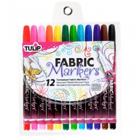 410307 Tulip Fine Fabric Markers Assorted 12/Pkg