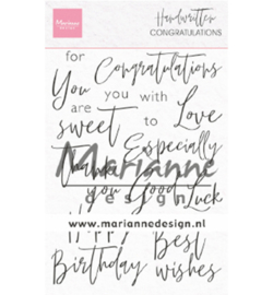 CS1052 Marianne Design Clear stamp Handwritten Congratulations