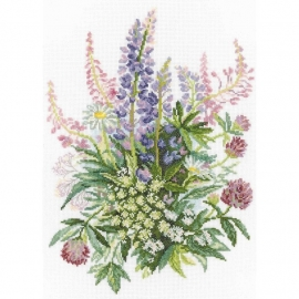 193516 Clover And Lupines Counted Cross Stitch Kit