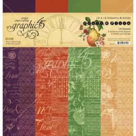 "621772 Graphic 45 Double-Sided Paper Pad Fruit & Flora 12""X12"" 16/Pkg"