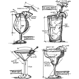 "CMS 335 Tim Holtz Cling Stamps Cocktails Blueprint 7""X8.5"