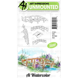 571633 Art Impressions Watercolor Cling Rubber Stamps Bridge Set