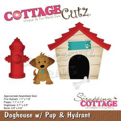 "561318 CottageCutz Dies Doghouse W/Pup & Hydrant 1.1"" To 2.7"""