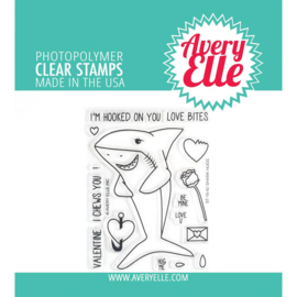 "615433 Avery Elle Clear Stamp Set Shark Hugs 4""X3"""