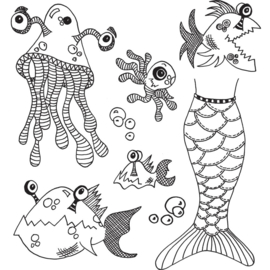"205489 Dyan Reaveley's Dylusions Cling Stamp Collections Plenty More Fish In The Sea 8.5""X7"""