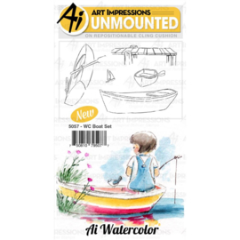 571588 Art Impressions Watercolor Cling Rubber Stamps Boat
