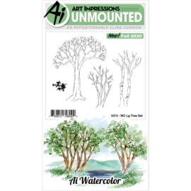 644041 Art Impressions Watercolor Cling Rubber Stamps Large Tree