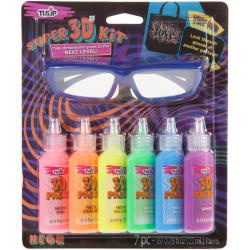 431078 Tulip Dimensional Fabric Paint Kit  Neon W/3D Glasses