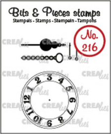 CLBP216 Crealies Clearstamp Bits & Pieces klok met ketting en slinger