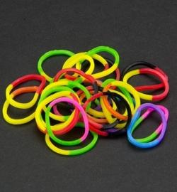 45067 - Band-it -  Elastieken Half/half kleuren Mix 600st