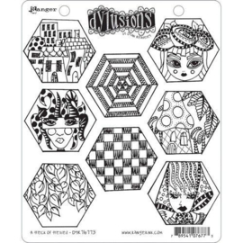 DYR76773 Ranger Dylusions Cling Stamp Set A Heck of Hexies