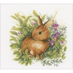519329 LanArte Hare On Fabric Counted Cross Stitch Kit