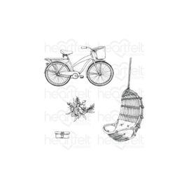 HCPC3910 Heartfelt Creations Cling Rubber Stamp Set Cottage Lifestyle, French Cottage