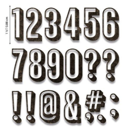 664808 Sizzix Thinlits Die Set - Alphanumeric Shadow Numbers 21PK  Tim Holtz