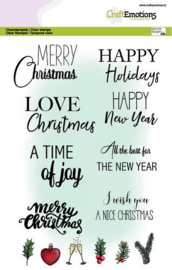 130501/3017 CraftEmotions clearstamps A5 - Text Christmas cards (Eng) GB Dimensional stamp