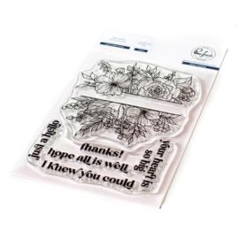 """PF121421 Pinkfresh Studio Clear Stamp SetJust A Hello Floral  4""""X6"""""""