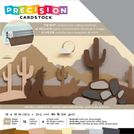 """AC354128 American Crafts Precision Cardstock Pack 80lb Neutral/Textured 12""""X12"""" 60/Pkg"""