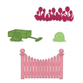 569072 Heartfelt Creations Cut & Emboss Dies Tulip Cart & Fence