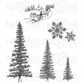 419491 Heartfelt Creations Cling Rubber Stamp Set Snow Kissed Spruce