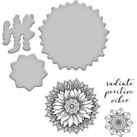 SDS094 Spellbinders Stamp & Die Set Good Vibes-Sunflower By Stephanie Low