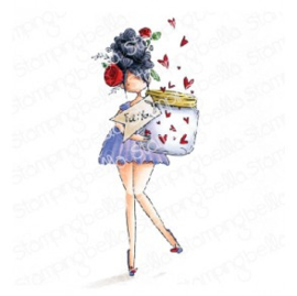 565540 Stamping Bella Cling Stamps Curvy Girl With A Jar Of Hearts