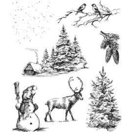 "CMS 428 Tim Holtz Cling Stamps Winterscape 7""X8.5"""