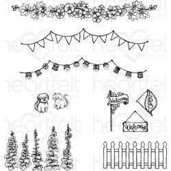 "594596 Heartfelt Creations Cling Rubber Stamp Set Elements Of Home 1"" To 4.5"""