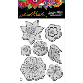 "375801 Stampendous Laurel Burch Cling Stamp W/ Template Blossoms 9""X5.25"""