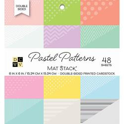 "211115 DCWV Double-Sided Cardstock Stack Pastel Patterns 6""X6"" 48/Pkg"