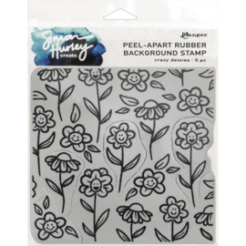 """HUR67 75455 Simon Hurley create. Cling Stamps  Crazy Daisies 6""""X6"""""""