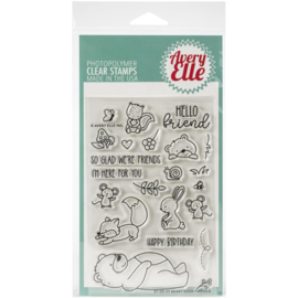 "617094 Avery Elle Clear Stamp Set Beary Good Friends 4""X6"""