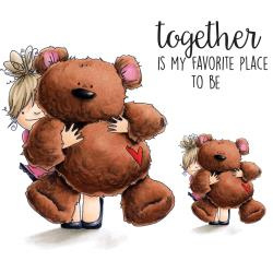 """401008 Stamping Bella Squidgy Cling Stamp Squidgy & Teddy 6.5""""X4.5"""""""