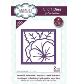 CED4377 Frames and Tags Collection Pansy Flower Square