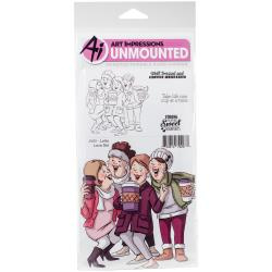 484496 Art Impressions Girlfriends Cling Rubber Stamps Latte Love