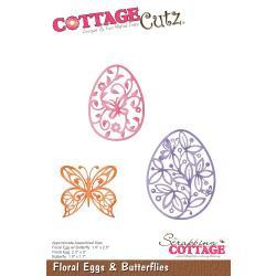 "CC412 CottageCutz Die Floral Eggs & Butterflies 1.7"" To 2.5"""