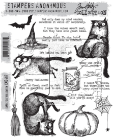 "CMS 407 Tim Holtz Cling Stamps Snarky Cat Halloween 7""X8.5"""