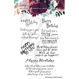 """C3SS516 Colorado Craft Company Clear Stamps Birthday Blessings-Savvy Sentiments 4""""X6"""""""