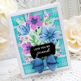 647338 PFST14 Pinkfresh Studio Stencils Garden Florals  A2 5/Pkg