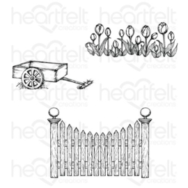 "569076 Heartfelt Creations Cling Rubber Stamp Set Tulip Cart & Fence 5""X6.5"""