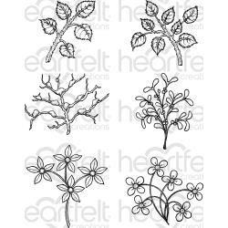"074215 Heartfelt Creations Cling Rubber Stamp Set Window Box Fillers 5""X6.5"""