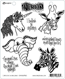 "568464 Dyan Reaveley's Dylusions Cling Stamp Collections I Believe In Unicorns 8.5""X7"""