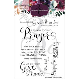 """C3SS571 Colorado Craft Company Clear Stamps Thanksgiving Prayer-Savvy Sentiments 4""""X6"""""""
