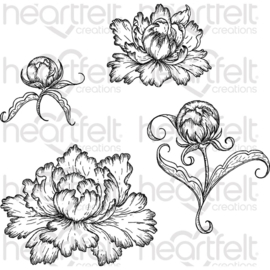 444609 Heartfelt Creations Cling Rubber Stamp Set Peony Bud & Blossom